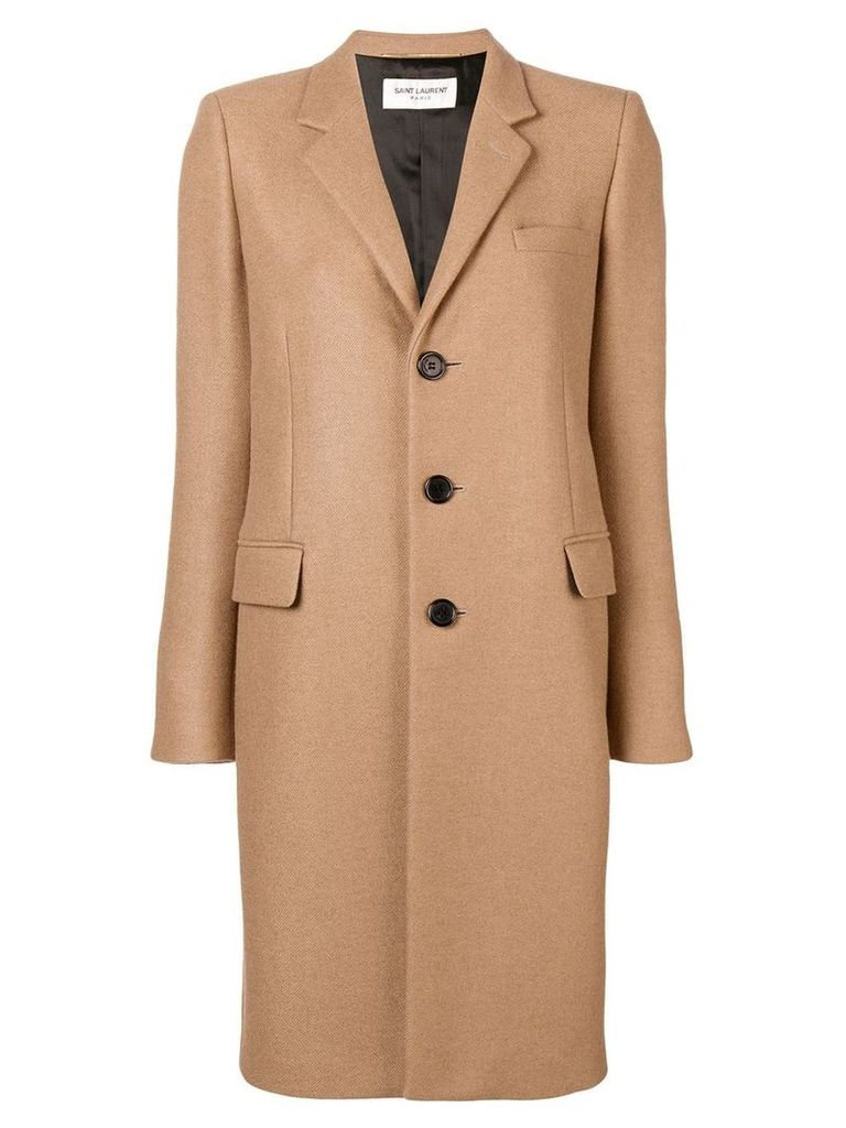 Saint Laurent single-breasted buttoned coat - Neutrals