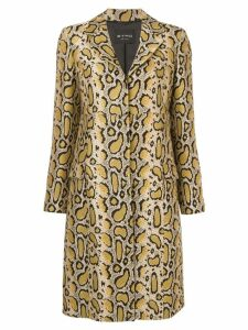 Etro snakeskin-print fitted coat - Yellow