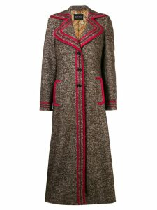 Etro contrast-trim midi coat - Brown