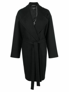 Rochas belted single-breasted coat - Black