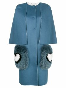 Fendi concealed fastening coat - Blue