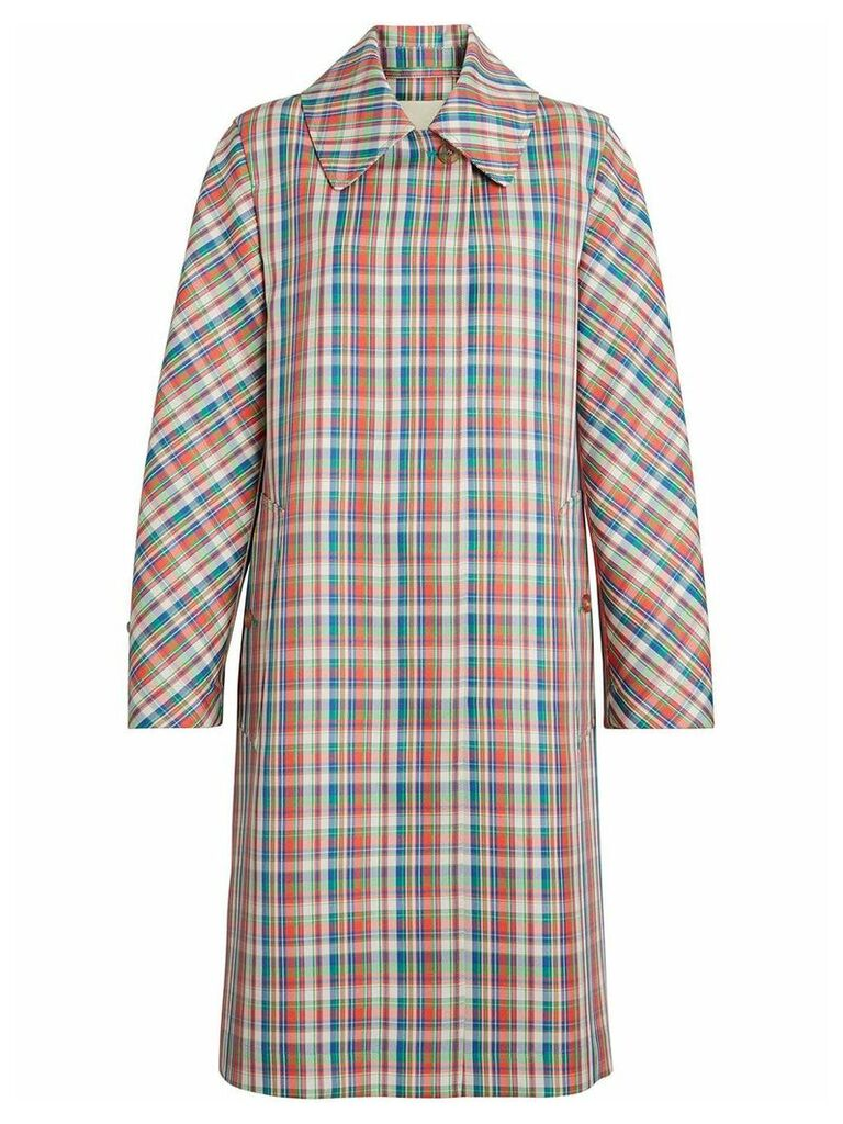 Burberry Micro Check Silk Blend Car Coat - Red