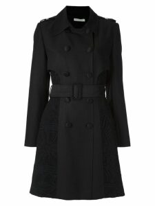 Martha Medeiros lace inserts trench coat - Black