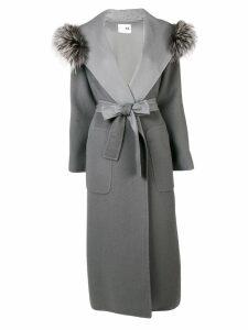 Manzoni 24 fur collar trench coat - Grey