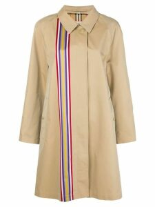 Burberry collegiate stripe gabardine car coat - Neutrals