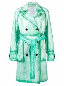 Calvin Klein 205W39nyc washed double breasted trench coat - Green