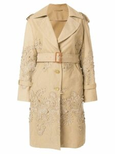 Ermanno Scervino baroque applique trench coat - Neutrals