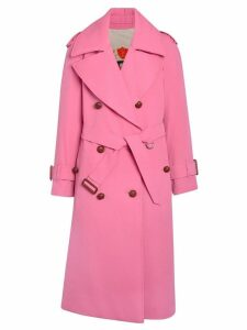 Burberry Oversized Lapel Wool Gabardine Trench Coat - Pink