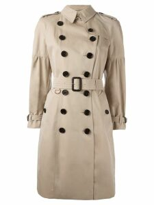 Burberry Cotton Gabardine Trench Coat with Puff Sleeves - Neutrals
