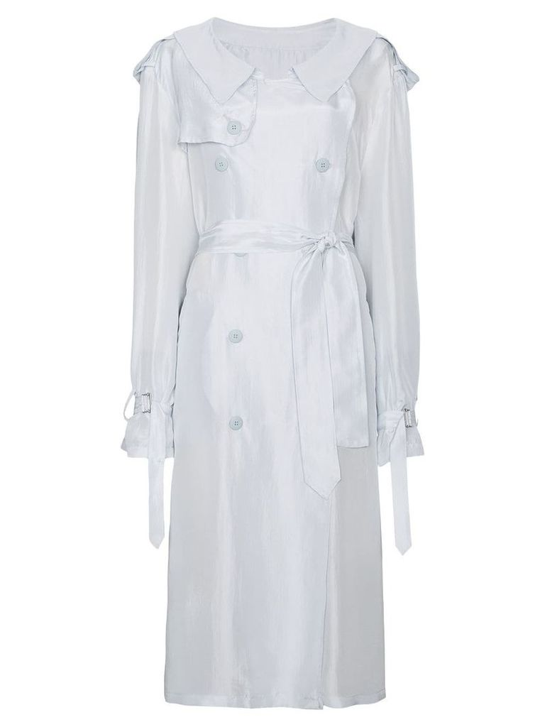 Unravel Project Silk Trench Coat - White