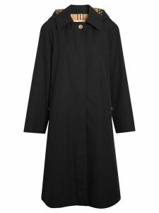 Burberry Detachable Hood Tropical Gabardine Car Coat - Black