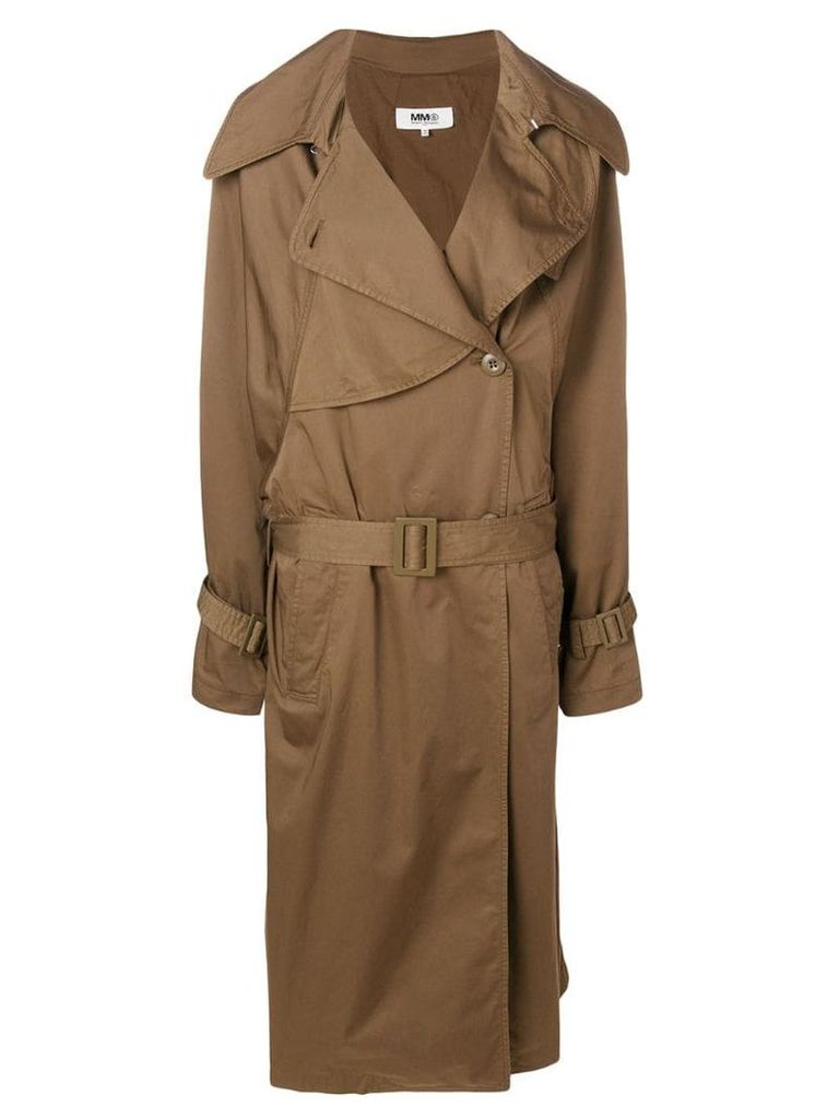 Mm6 Maison Margiela long sleeved trench coat - Brown