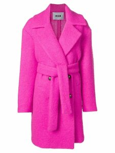 MSGM belted teddy coat - Pink