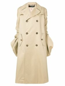 Junya Watanabe gathered sleeved trench coat - Neutrals