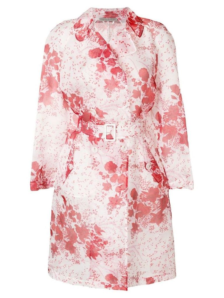 Ermanno Scervino sheer floral print trench - Red