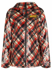 Gucci logo tartan coated cotton windbreaker - Multicolour