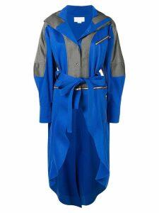 Esteban Cortazar zipped belted raincoat - Blue