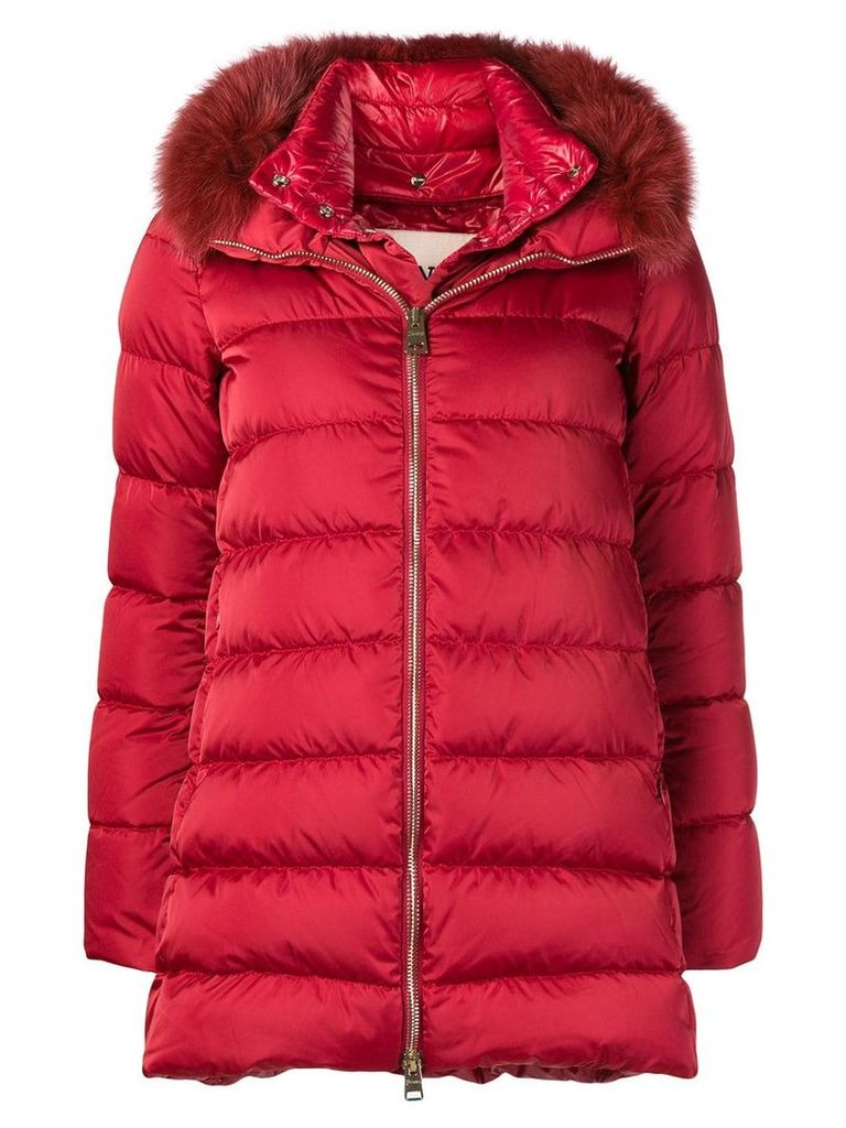Herno fur trimmed padded coat - Red