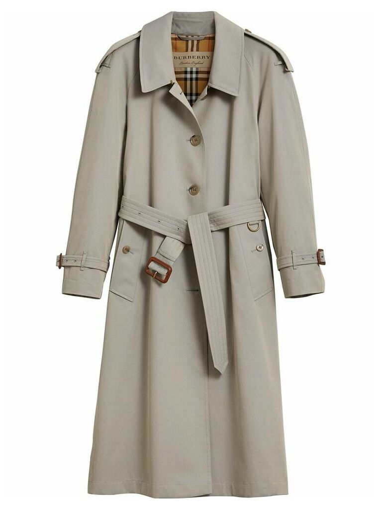 Burberry Side-slit Tropical Gabardine Trench Coat - Grey