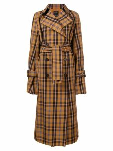 Rokh checked trench coat - Brown