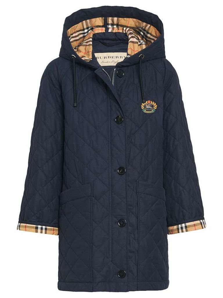 Burberry quilted check cuff raincoat - Blue