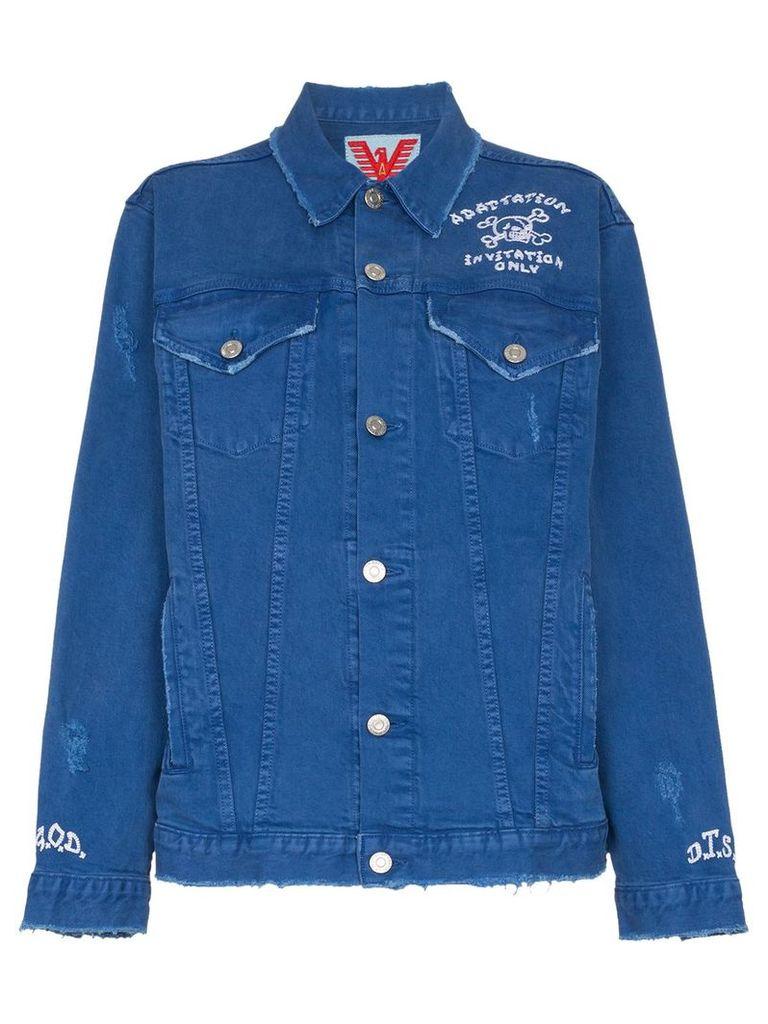 Adaptation Invitation Only Embroidered Denim Jacket - Blue