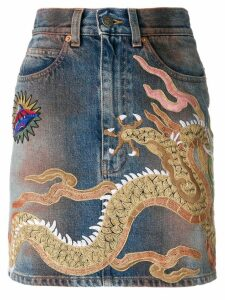 Gucci dragon motif denim skirt - Blue