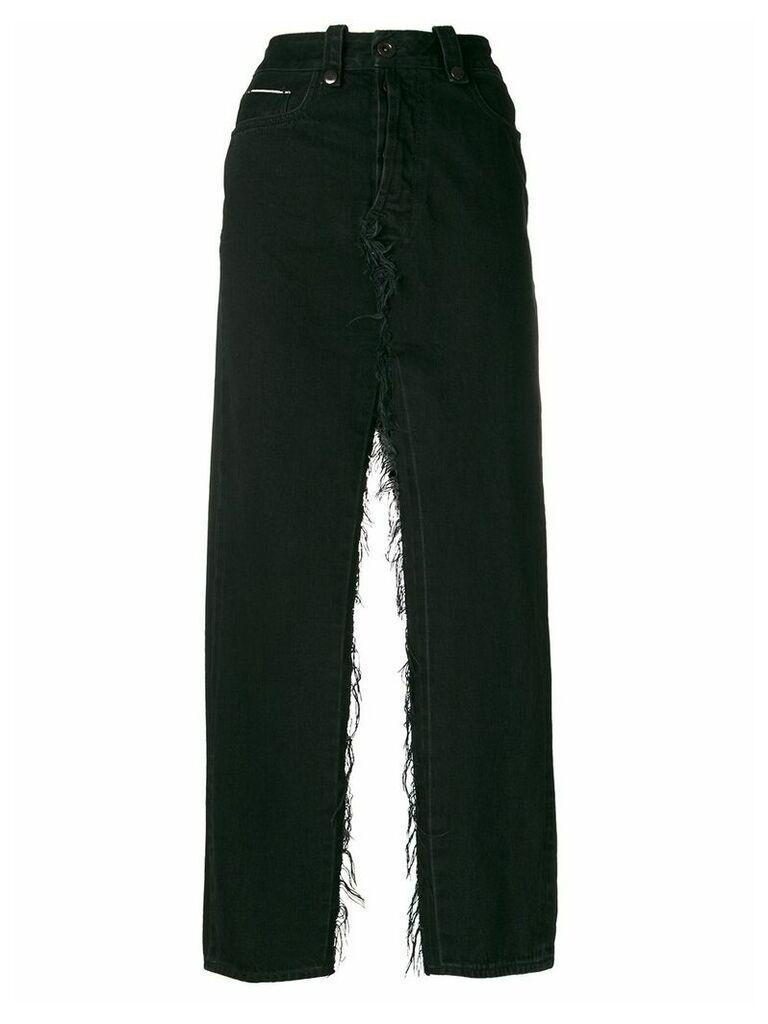Unravel Project double slits denim skirt - Black