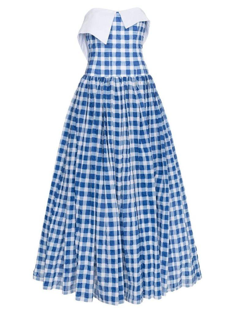 Natasha Zinko Gingham Strapless Maxi Dress - Blue