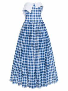 Natasha Zinko Gingham Strapless Maxi Dress - Blue