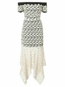 Nicole Miller lace layered strapless dress - White