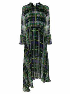 MSGM check asymmetric dress - Black