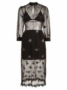 Fleur Du Mal Superstar layered mesh dress - Black