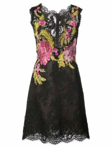Marchesa floral embroidered lace dress - Black