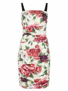 Dolce & Gabbana sleeveless peony print cotton gathered dress - Pink