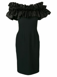 Alexander McQueen ruffled top fitted dress - Black