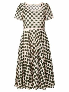 Fendi geometric print flared dress - Green