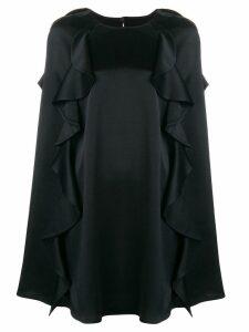 Valentino frilled cape dress - Black
