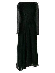 Talbot Runhof long-sleeved metallic dress - Black
