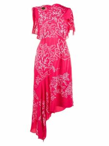 Peter Pilotto Grecian laurel leaf embroidered dress - Pink