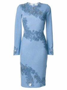 Ermanno Scervino fitted dress with embroidered floral insets - Blue