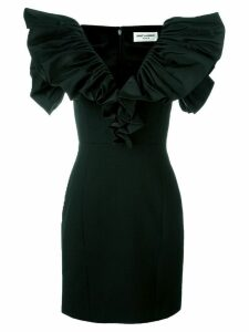 Saint Laurent ruched sleeve mini dress - Black