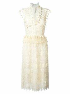 Ermanno Scervino V-neck fringed midi dress - White