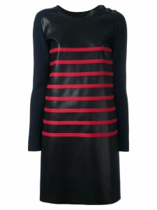 Cédric Charlier two-tone striped dress - Black