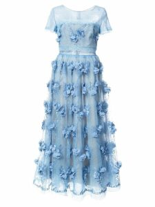Marchesa Notte floral-appliquéd lace dress - Blue