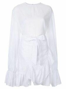 Goen.J elongated sleeves ruffled dress - White