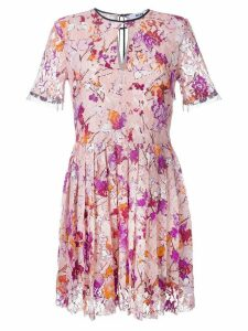 MSGM leaf print lace dress - Pink