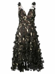 Marchesa Notte floral embroidered dress - Black