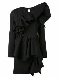 Marni ruffle front mini dress - Black
