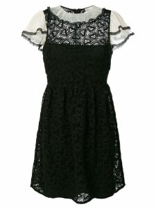 Red Valentino macrame lace trim dress - Black